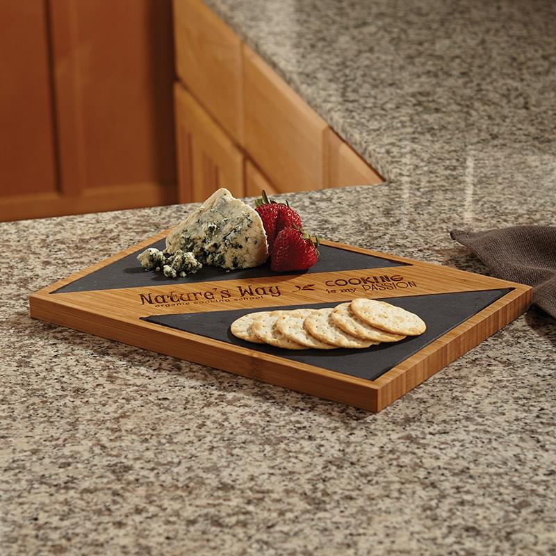 Bamboo and Slate Serving Board