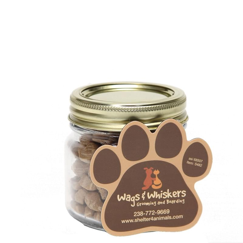 Cat Treats in Half Pint Jar w/ Paw Magnet
