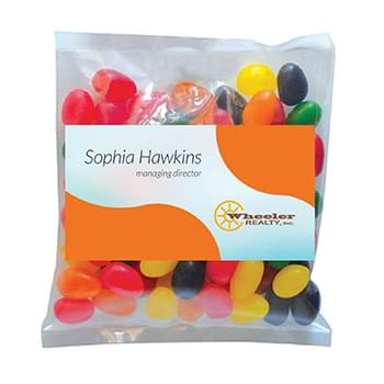 Business Card Magnet w/Small Bag of Jelly Beans