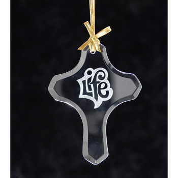 Cross Jade Glass Ornament