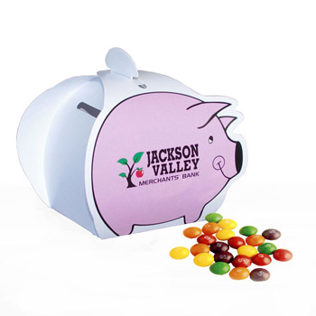Piggy Paper Bank with Mini Bag of Skittles