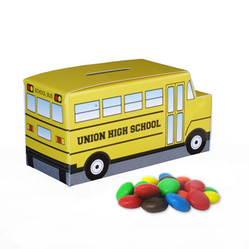School Bus Paper Bank with Mini Bag of M&Ms
