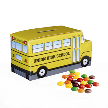 School Bus Paper Bank With Mini Bag of Skittles