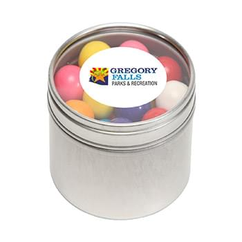 Gum Balls in Small Round Window Tin
