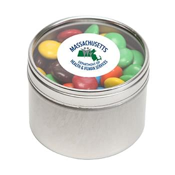 M&Ms - Plain in Small Round Window Tin