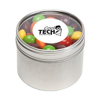 Skittles in Small Round Window Tin