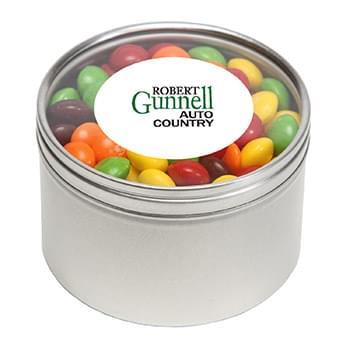 Skittles in Large Round Window Tin