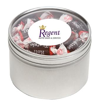 Tootsie Rolls in Large Round Window Tin