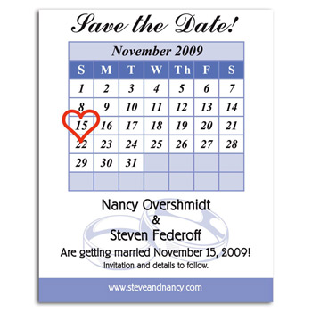 Calendar Save the Date Magnet