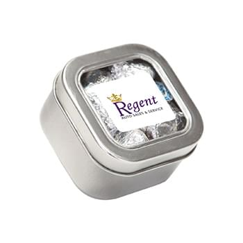 Hershey kisses in Small Square Window Tin