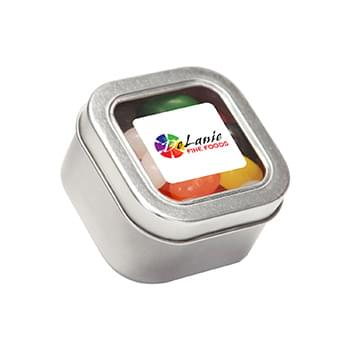 Standard Jelly Beans in Small Square Window Tin