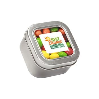 Skittles in Small Square Window Tin