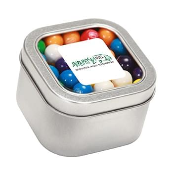 Gum Balls in Large Square Window Tin