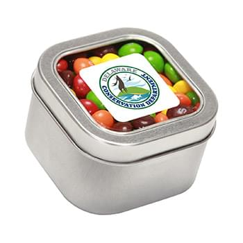 Skittles in Large Square Window Tin