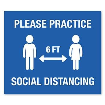 12 X 14 Rect Stock Social Distancing  Wall Decal